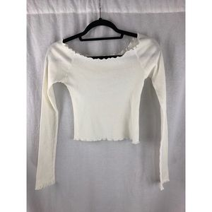 *NWOT* BRANDY MELVILLE White Ruffle Top Blouse